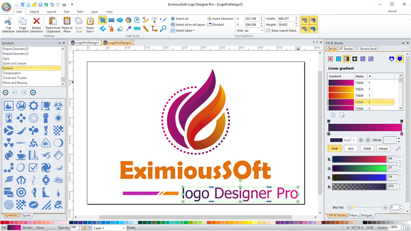 Logo Designer Pro provides you with solution that meets any requirement for design Logos. It offers over 540+ supreme quality logo templates and 2000+ vector graphics symbols while keeps 20+ expert Drawing Tools for building amazing logos.