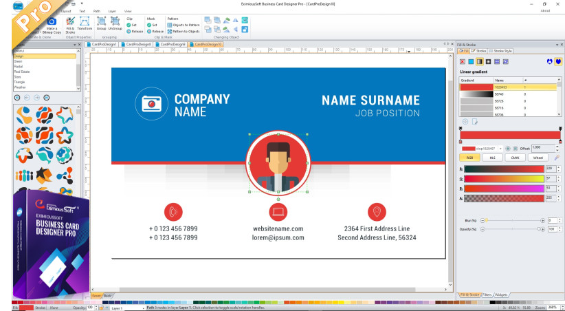 Main Interface and boxshot of Business Card Designer Pro