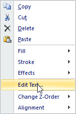 Screenshot of choose editing text contextual menu item