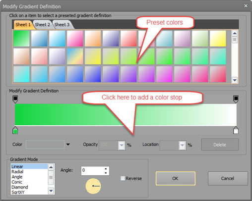The screenshot of dialog box for editing gradeint colors