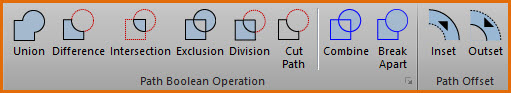 Screenshot of Path Boolean Operation commands collection