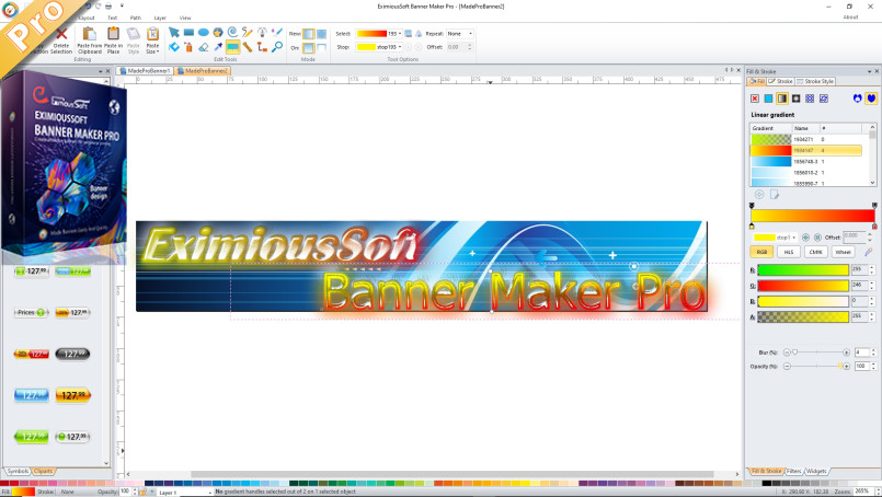 Main interface and boxshot of Banner Maker Pro