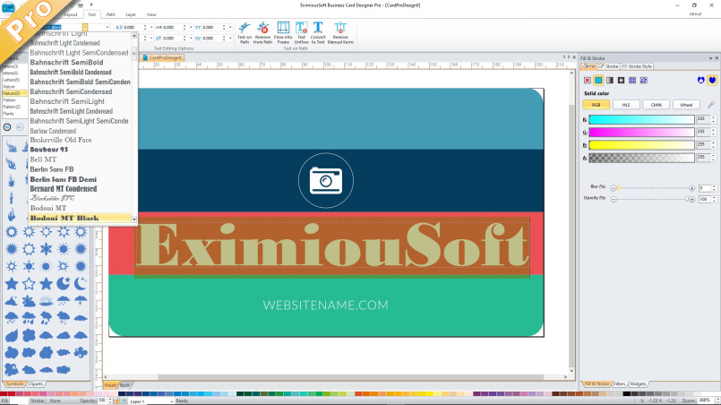Screenshots of eximioussoft business card designer editing text for cards colourmoves